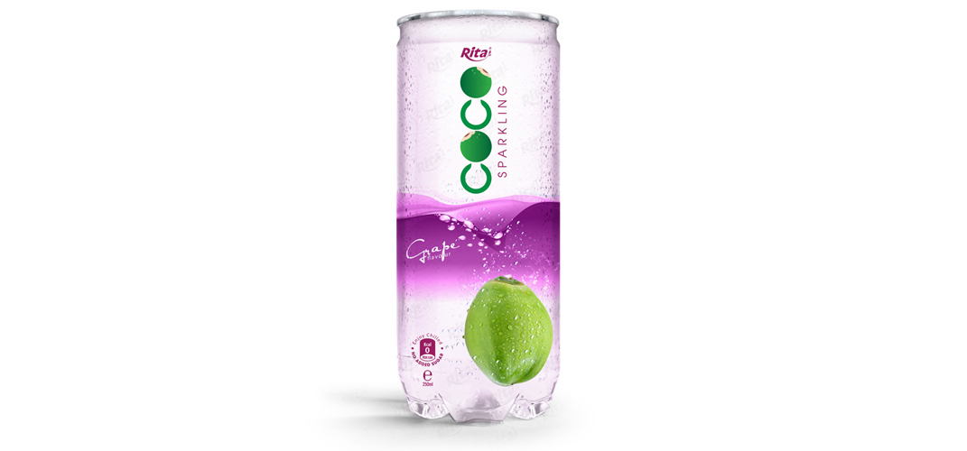 Sparking coconut water with grape flavor
