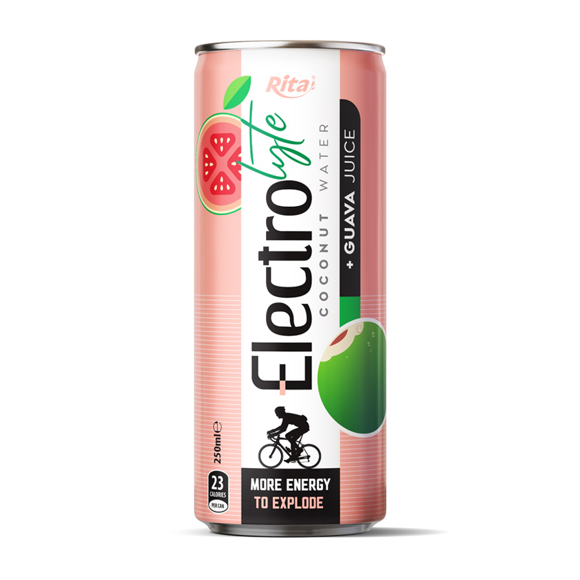 OEM BEVERAGE 250 ML CANNED ELECTROLYTE COCONUT WATER WITH GUAVA JUICE