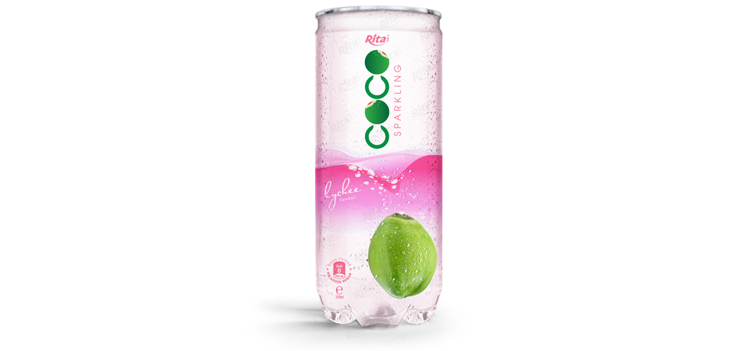 Sparking coconut water with lychee flavor 250ml Pet can