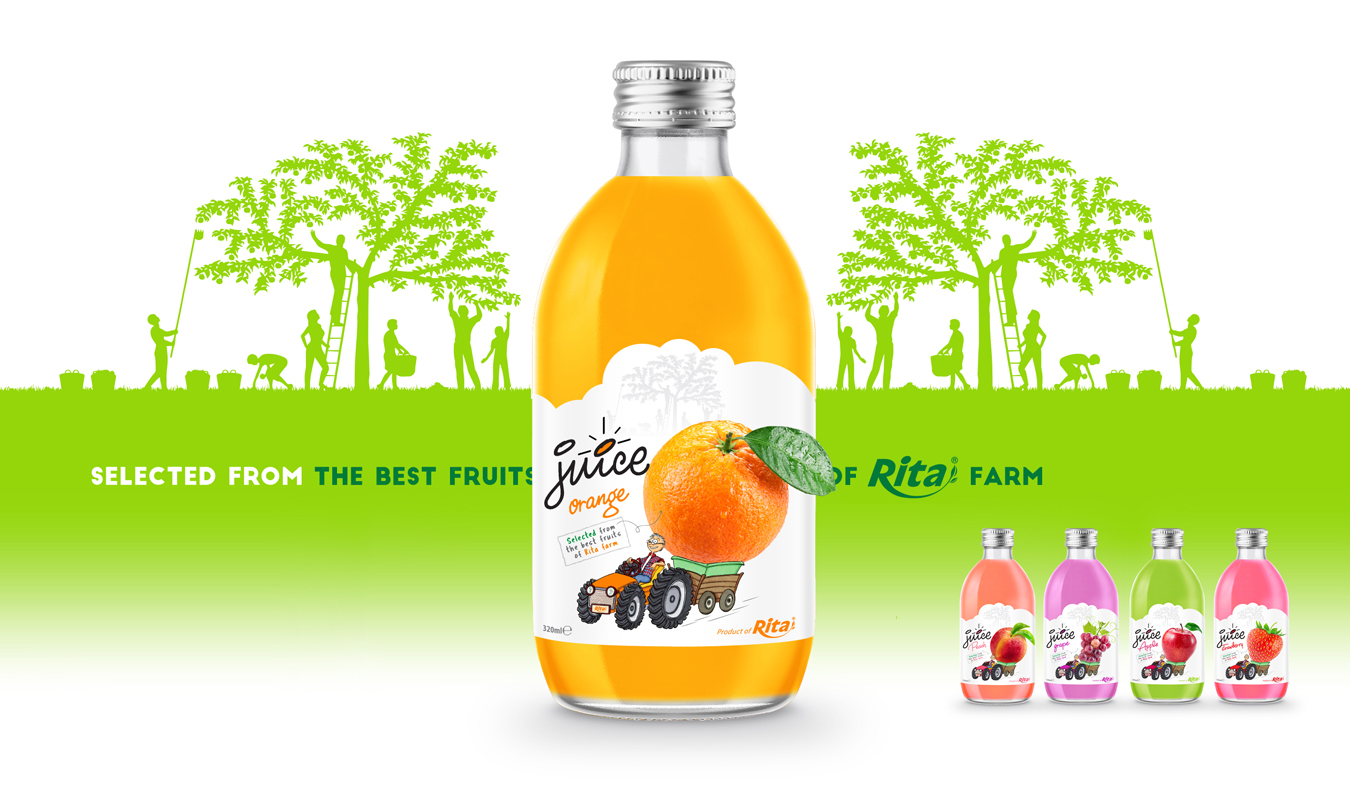glass 320ml fruit grape juice private label brand