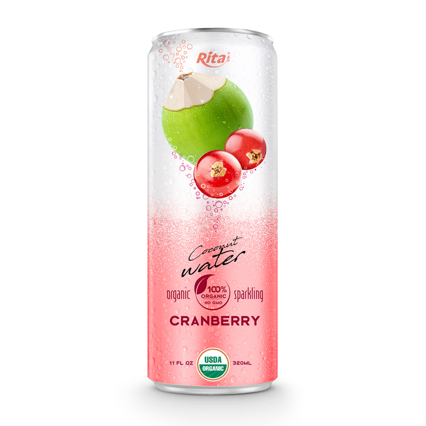 Sparkling Coconut Water Cranberry Flavor 330 ml Canned Brand