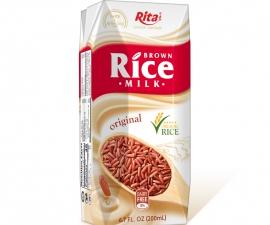 Brown Rice Milk 200 ml Box Packing Rita Brand