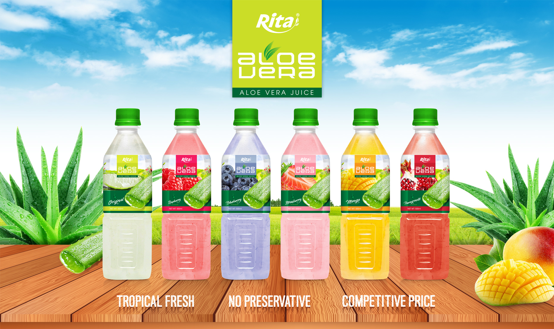 Aloe vera mango juice 500ml Pet bottle