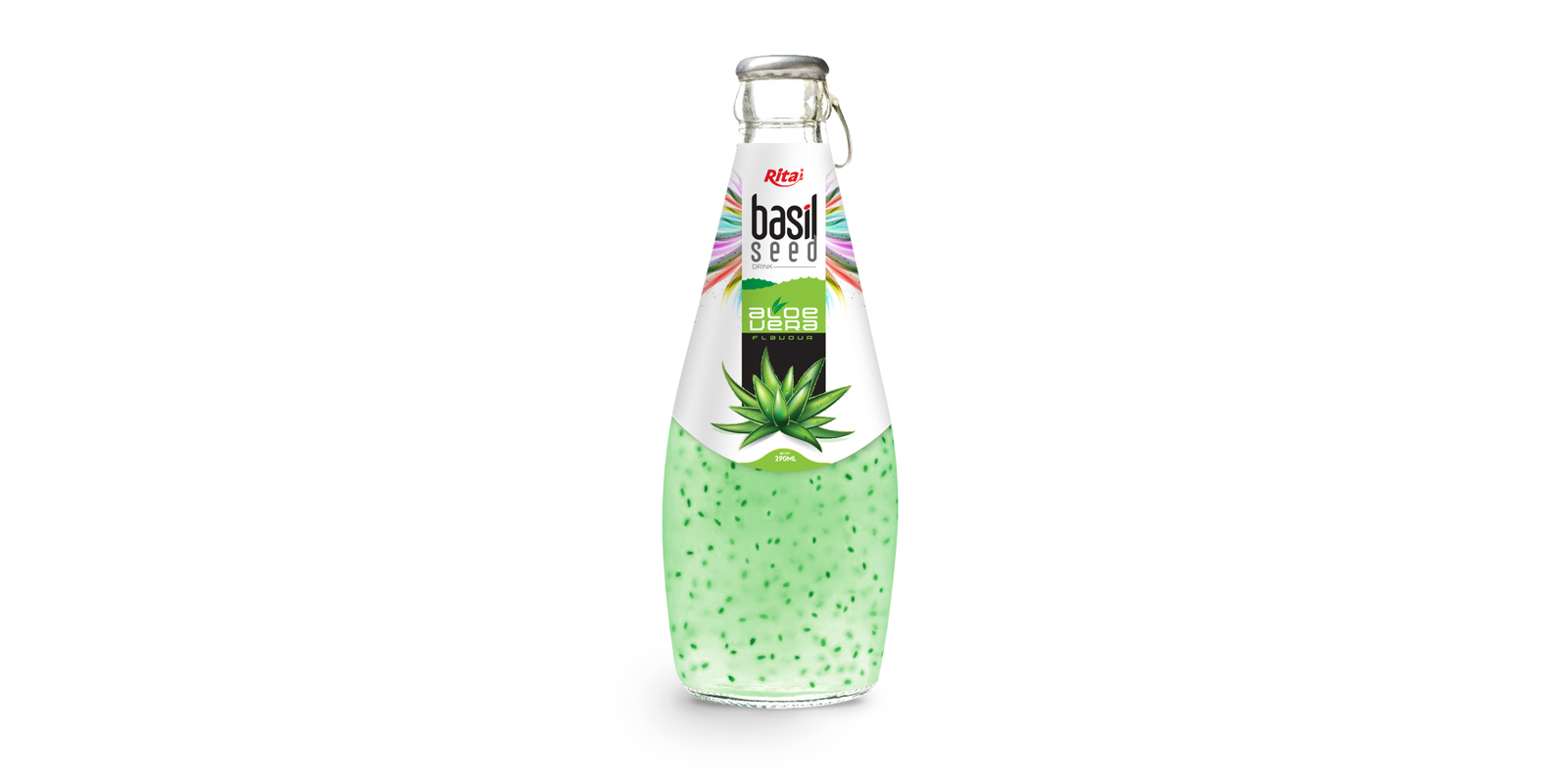 Basil seed with aloe vera  glass bottle 290ml