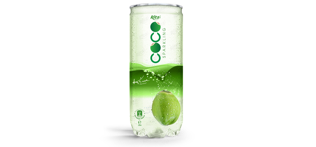 Sparking coconut water with kiwi flavor